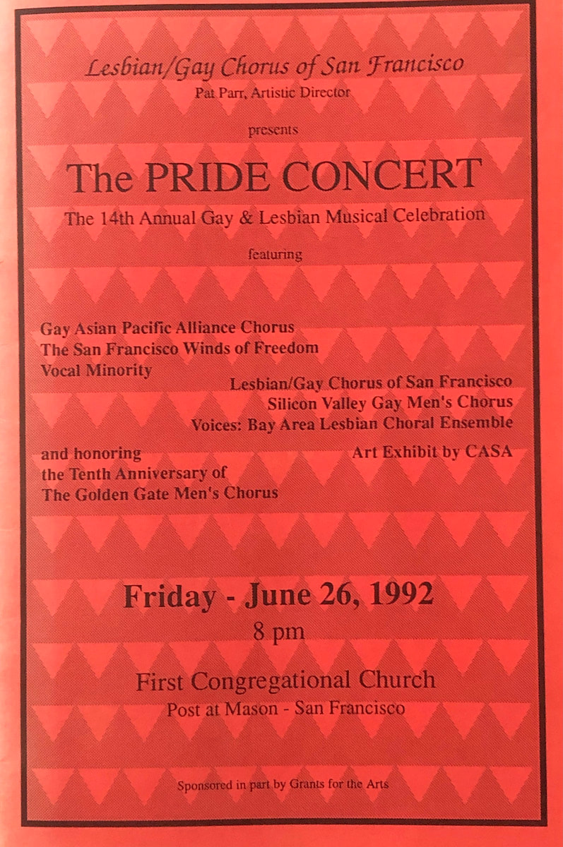 June 1992 Pride Concert program