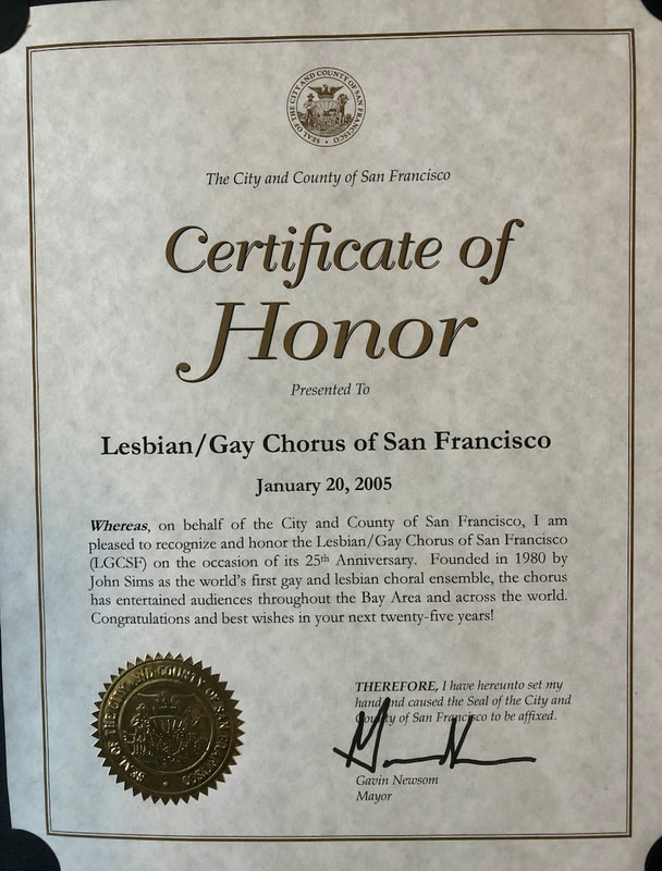 2005 Certificate of Honor from Mayor Gavin Newsom