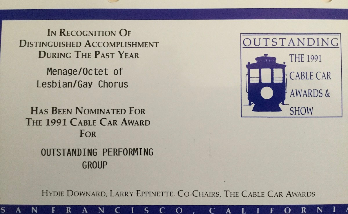 1991 Cable Car Award nomination