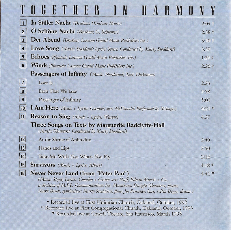 Together in Harmony CD - back